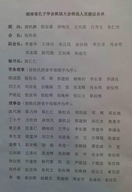 换届大会通过的湖南省孔子学会候选人员建议名单