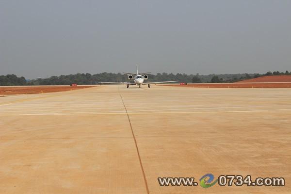 衡阳南岳机场迎来北京驶来的c560型校验飞机