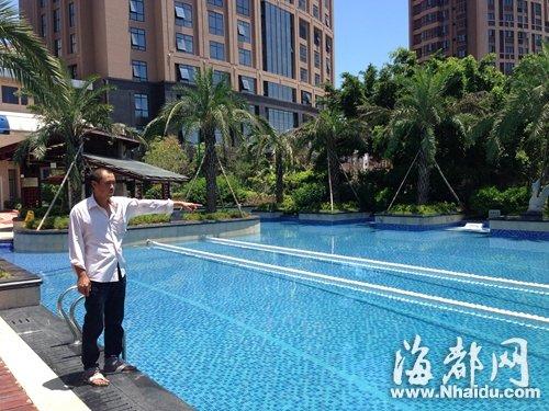 福清兰天大酒店泳池,孩子的父亲指着儿子溺亡的水域