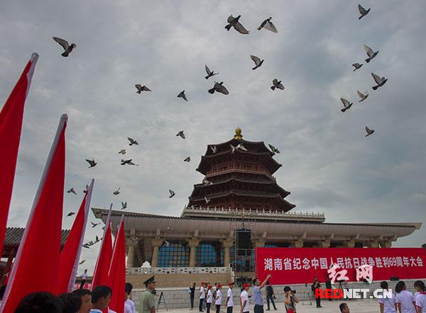 会场上空放飞和平鸽,纪念抗战胜利的这个伟大日子。