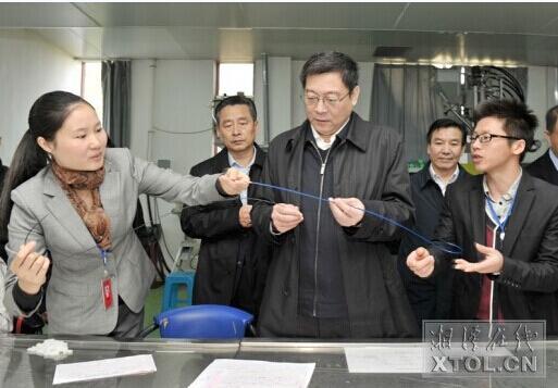 11月14日,杜家毫(前中)在湘乡经开区调研。