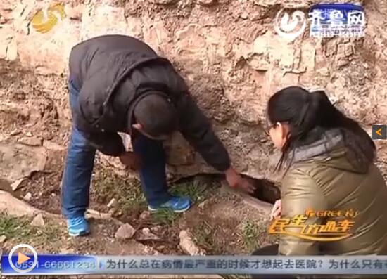 邹城市张庄镇的巡山员老刘在巡逻到凤凰山大佛附近时发现怪鱼。(视频截图)