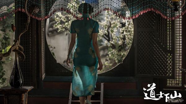 女旗袍背影手绘图