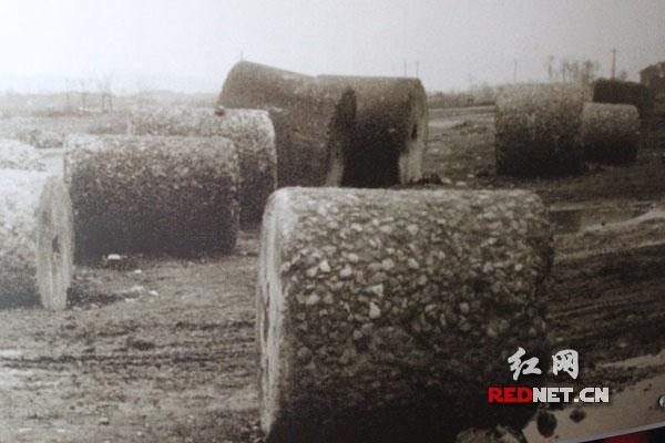 抗战时期,民众修建芷江机场所用的石碾