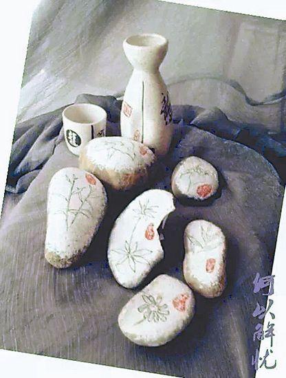 戴曦在石头上画的中药。图片由受访者提供