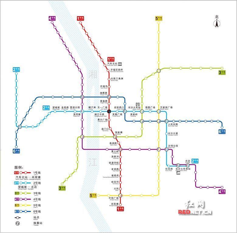长沙地铁线路图。