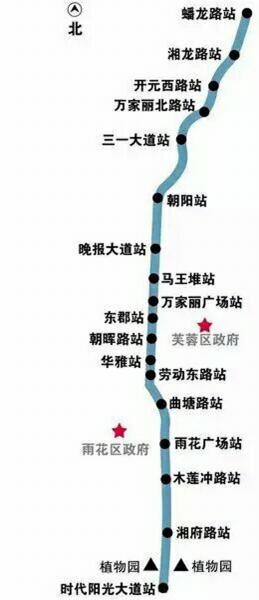 长沙地铁5号线简单示意图