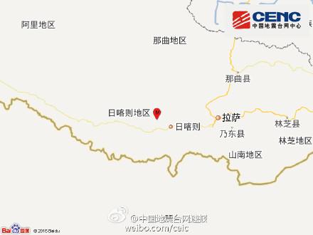 西藏谢通门县发生3.1级地震震源深度6千米(图)