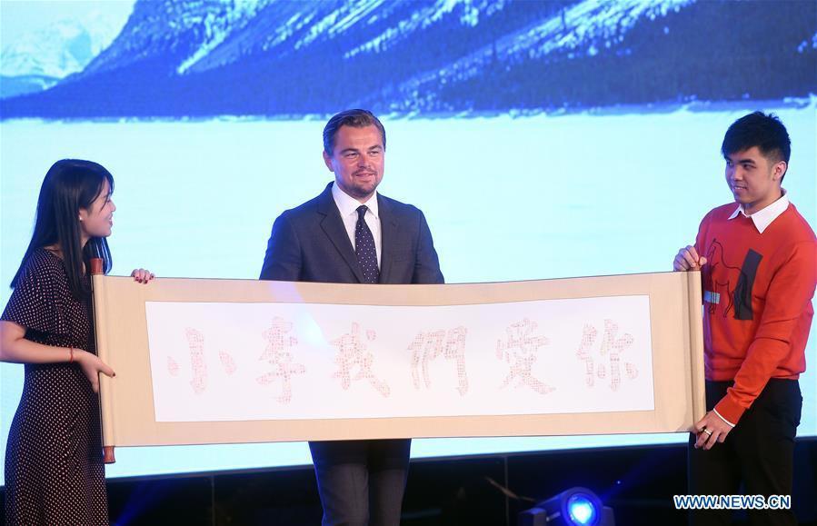 Leonardo DiCaprio promotes movie <EM><p  align=