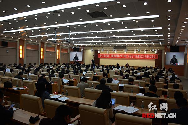 """29日,湖南省委、省政府召开电视电话会议,部署启动""""雁过拔毛""""式腐败问题和""""纠'四风'治陋习""""专项整治工作。"""