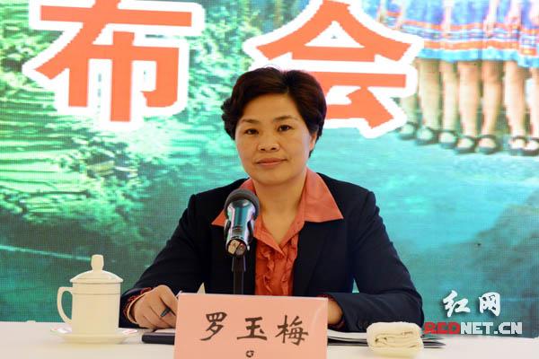 绥宁县委副书记、县长罗玉梅回答记者提问。
