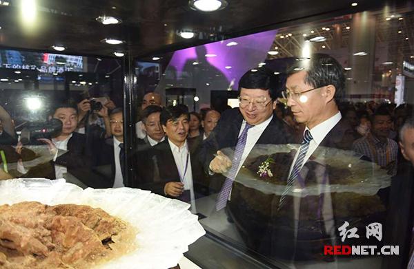 湖南省委常委、常务副省长陈向群(右二)与国土资源部副部长曹卫星(右一)一同巡馆。