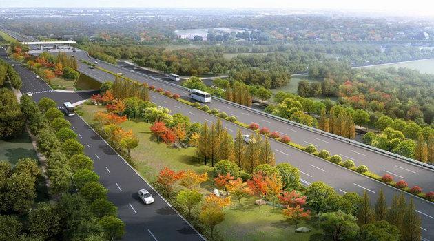 长株高速公路株洲北连接线(迎宾大道)绿化提质改造效果图