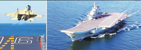 Left: A J15 fighter jet takes off from the CNS Liaoning, China's first aircraft carrier. Right: The carrier during a training exercise. (Photos/Xinhua)