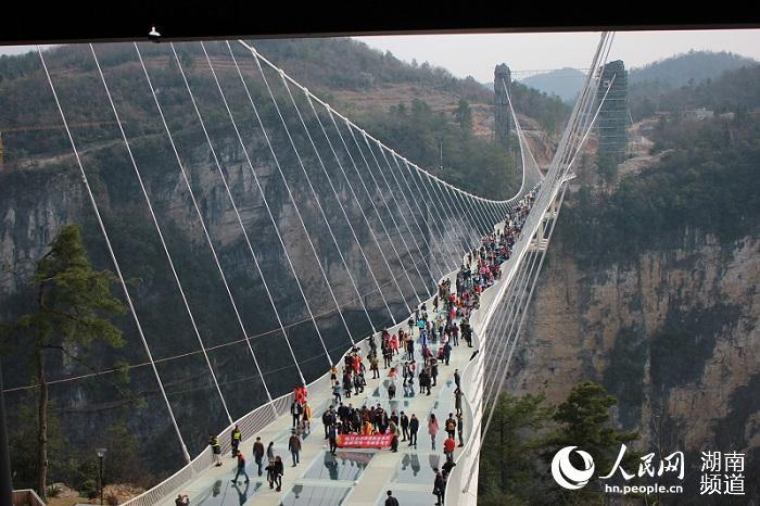 自开放以来张家界大峡谷玻璃桥游人如织