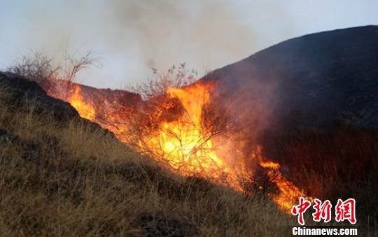 四川雅江县境内发生森林火灾