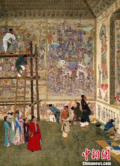 """临近""""五一""""国际劳动节,敦煌研究院30日推出《敦煌壁画内和壁画外的劳动者》微信特辑。图为当代著名工笔人物画家潘絜兹1954年作品《石窟艺术的创造者》。敦煌研究院供图"""