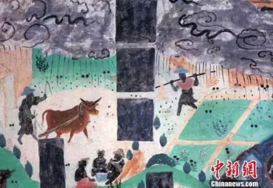 图为莫高窟23窟壁画雨中耕作(盛唐)。敦煌研究院供图