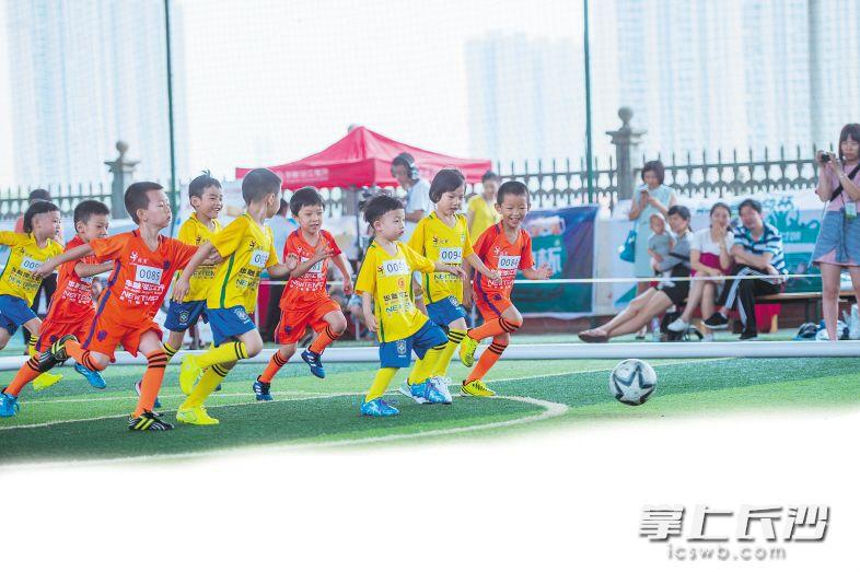 年纪虽小,虎童足球俱乐部的小朋友踢起球来却有模有样。长沙晚报记者 余劭劼摄