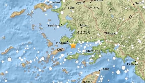 土耳其西南部海域发生5.3级地震。(图片来源:美国地质勘探局)