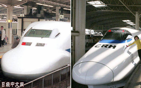 日本的新干线车辆和中国高铁车辆