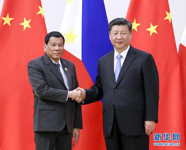 4月10日,国家主席习近平在海南省博鳌国宾馆会见菲律宾总统杜特尔特。 新华社记者 谢环驰 摄