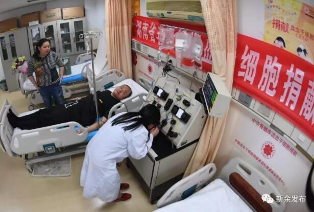 4月12日解战龙在医院接受干细胞采集。