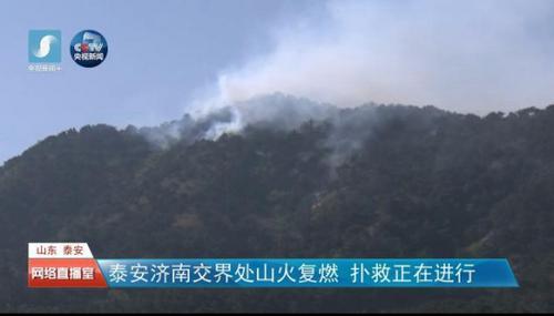 山东泰安济南交界处山火复燃扑救正在进行(图)