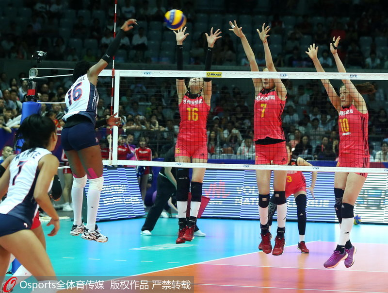 中国女排三人拦网