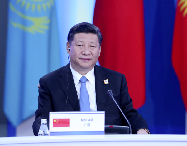 2017年6月9日,国家主席习近平在哈萨克斯坦首都阿斯塔纳出席上海合作组织成员国元首理事会第十七次会议并发表重要讲话。新华社记者 庞兴雷 摄