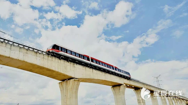 Automatic driving maglev train hits road in Changsha