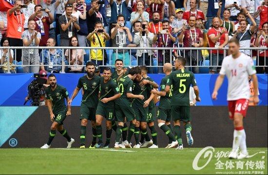2018年6月21日,2018年俄罗斯世界杯C组:丹麦1:1平澳大利亚 埃里克森进球、耶迪纳克点射扳平。 (Osports全体育传媒 版权作品 严禁转载)