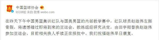 中国篮协官方微博截图