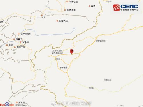 新疆喀什地区伽师县发生4.8级地震震源深度10公里